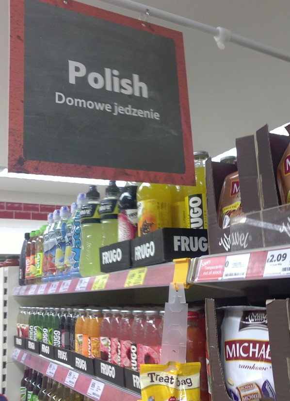 Tesco. World Foods section with products for Irish, Americans, Eastern Europeans, Asians, etc.  You can even find promotions written in Polish.