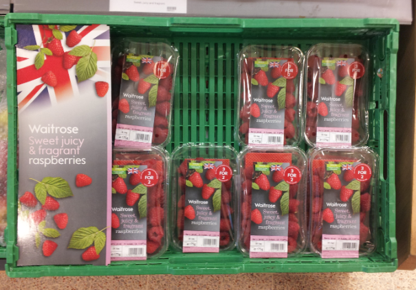 Waitrose was the first retailer to offer British grown raspberries this year.