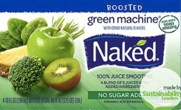 Brands like Naked boast credentials and consumer friendly messages: no added sugar, made by sustainability leaders, looks weird tastes amazing, plus all the natural topics you can think of.